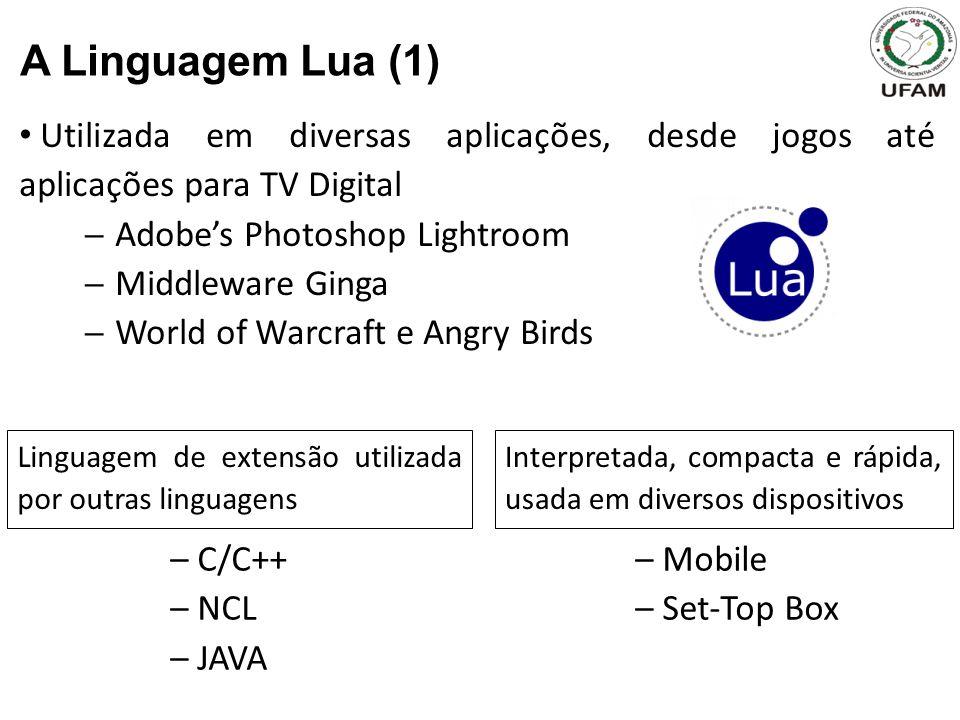 A Linguagem Lua (1) Utilizada em diversas aplicações, desde jogos até aplicações para TV Digital. Adobe's Photoshop Lightroom.