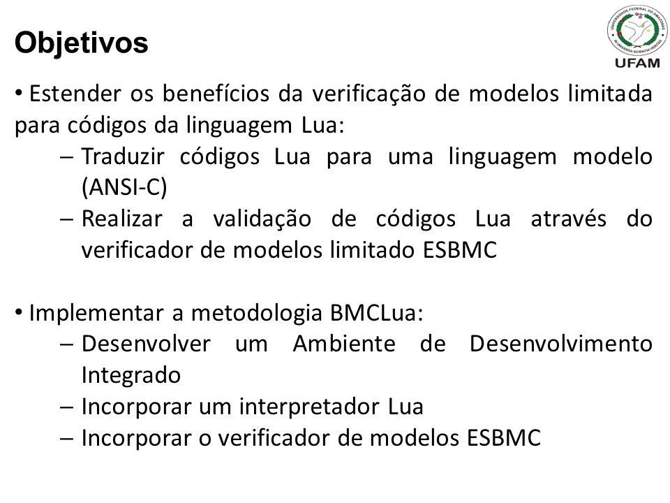 Objetivos Estender os benefícios da verificação de modelos limitada para códigos da linguagem Lua: