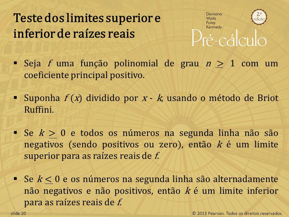 Teste dos limites superior e inferior de raízes reais