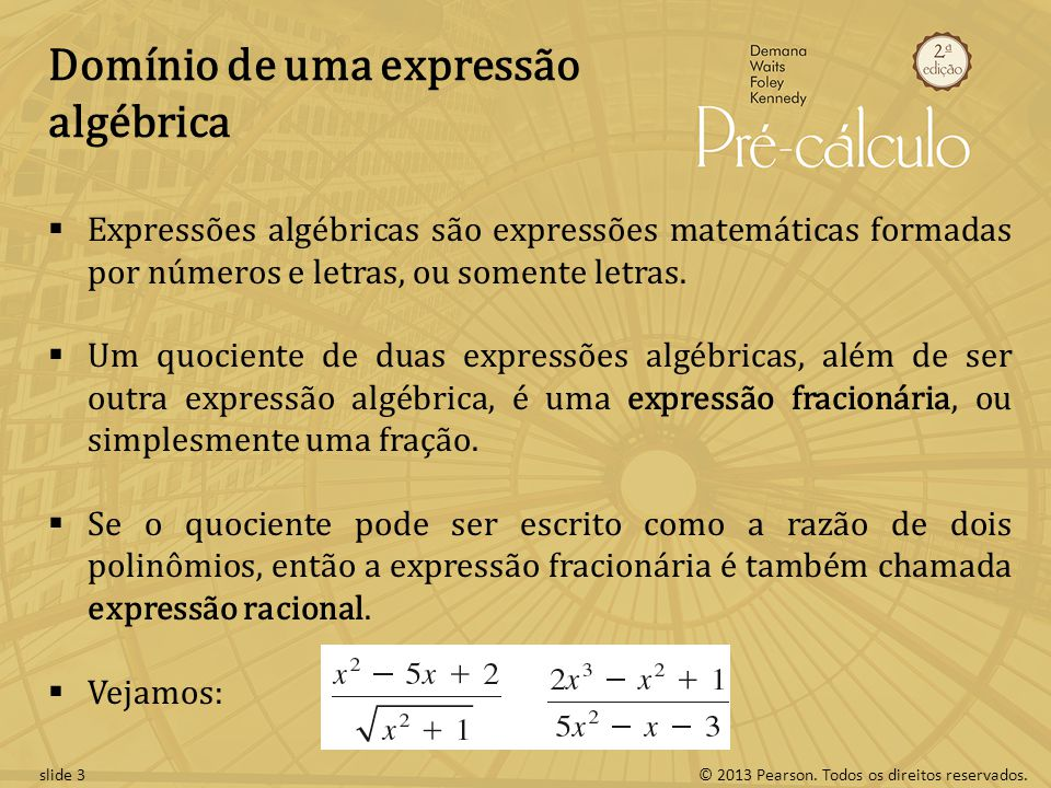 Domínio de uma expressão algébrica