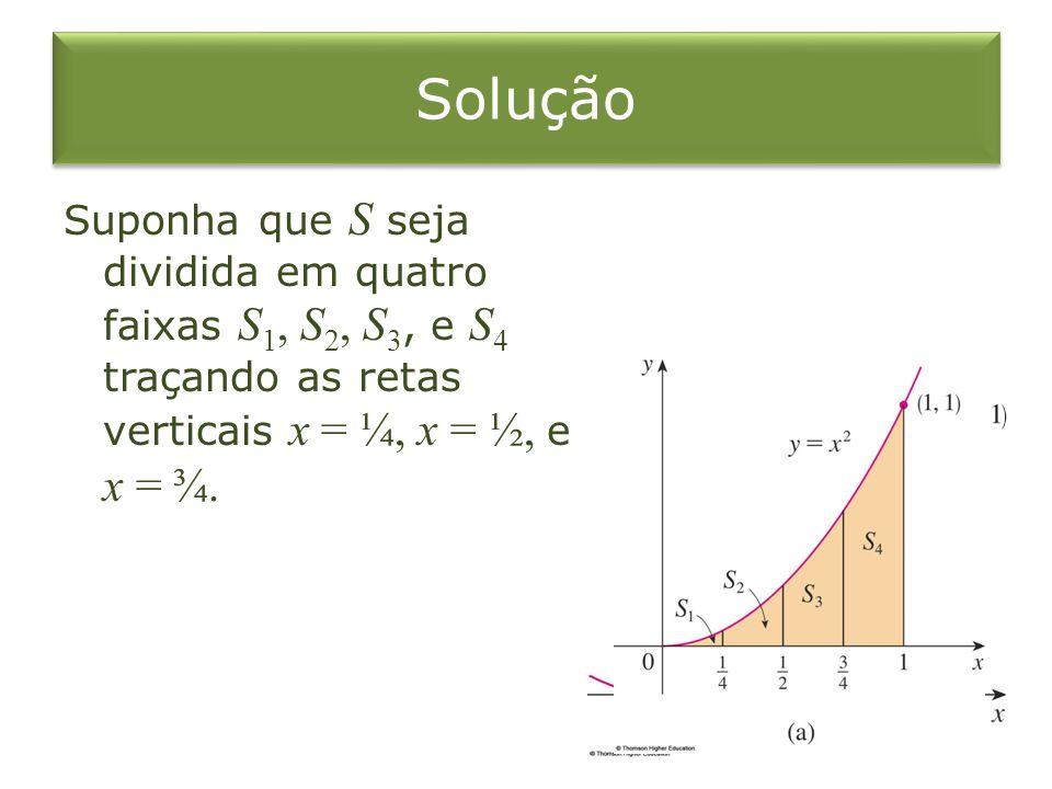 Solução Suponha que S seja dividida em quatro faixas S1, S2, S3, e S4 traçando as retas verticais x = ¼, x = ½, e x = ¾.