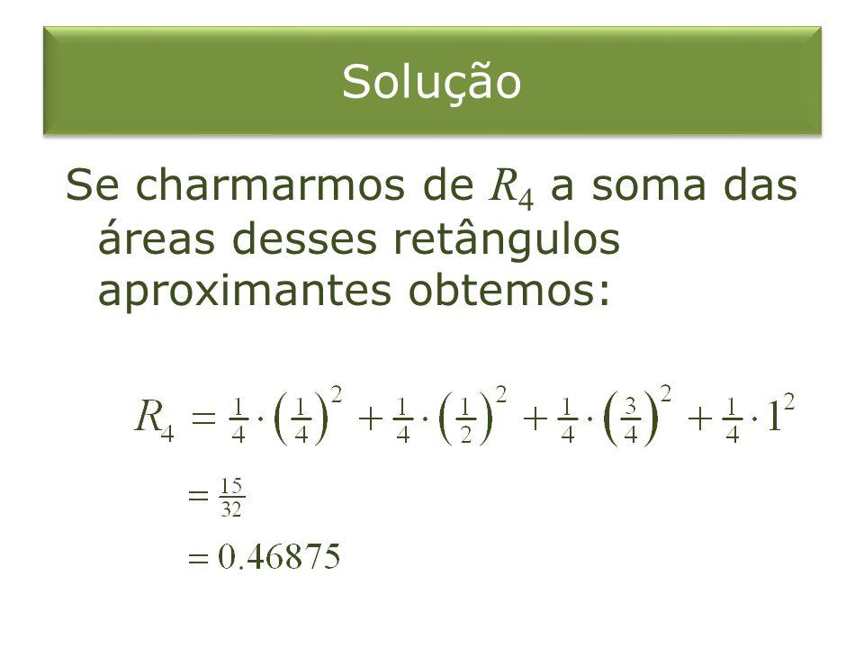 Solução Se charmarmos de R4 a soma das áreas desses retângulos aproximantes obtemos: