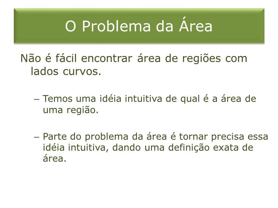 O Problema da Área Não é fácil encontrar área de regiões com lados curvos. Temos uma idéia intuitiva de qual é a área de uma região.