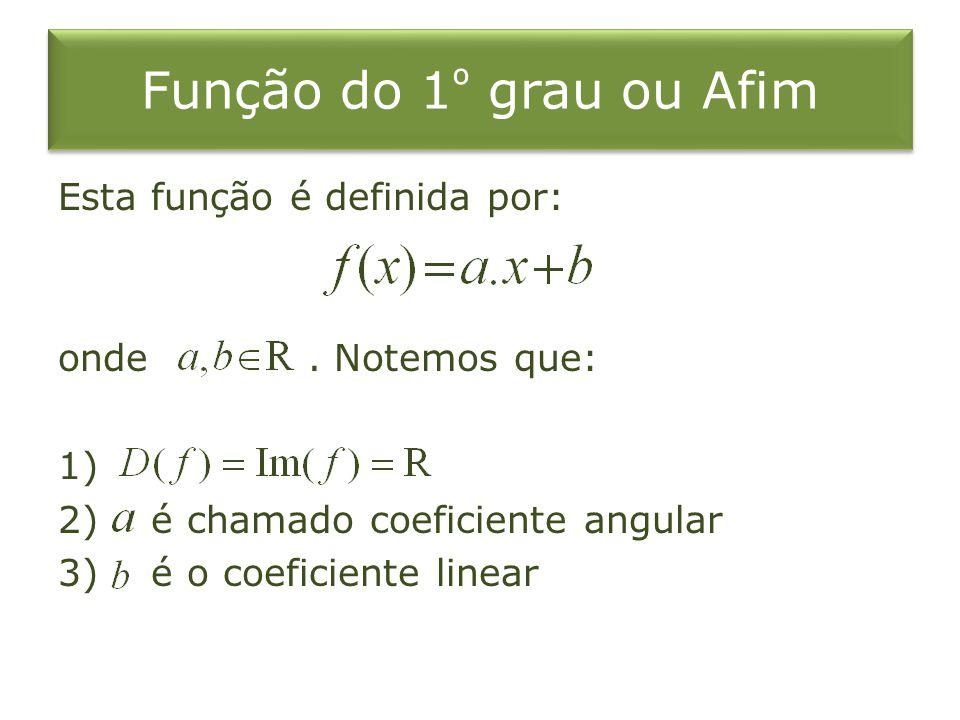 Função do 1º grau ou Afim Esta função é definida por: