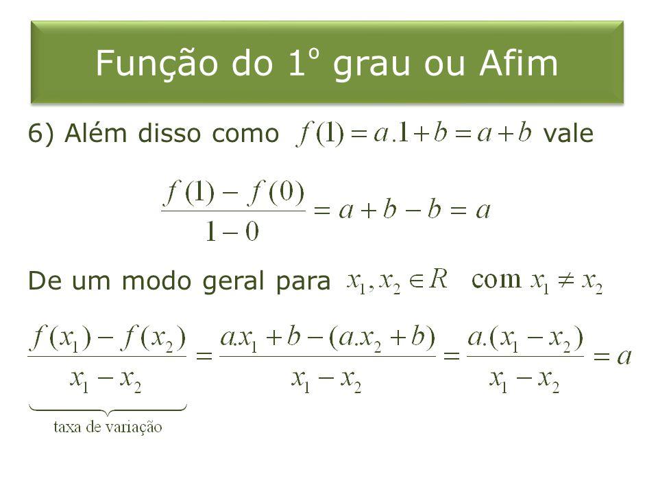 Função do 1º grau ou Afim 6) Além disso como vale De um modo geral para
