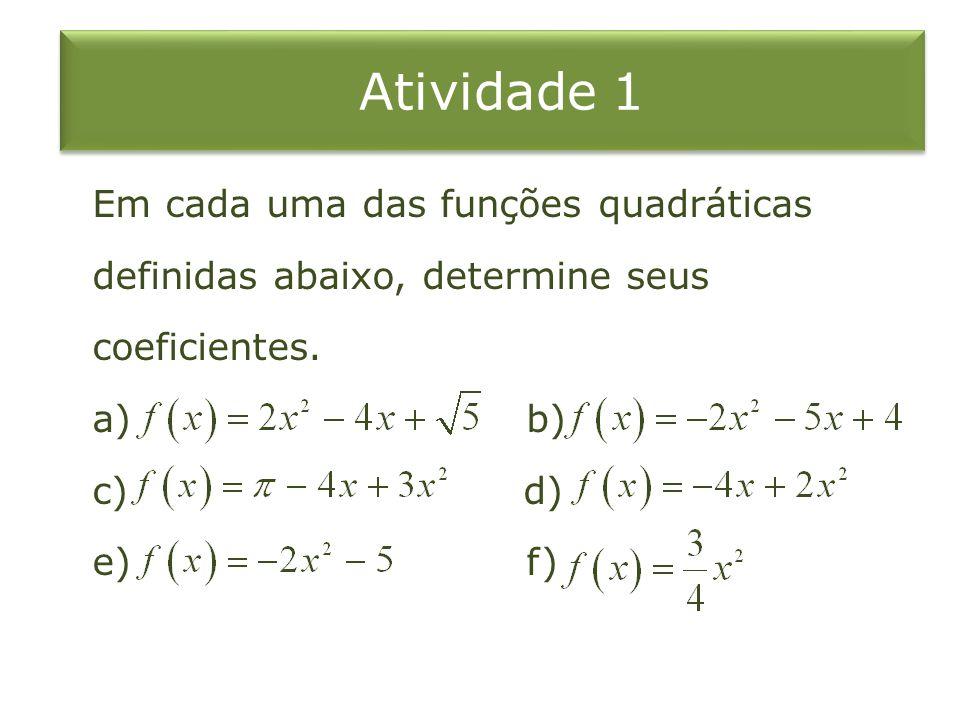Atividade 1 Em cada uma das funções quadráticas