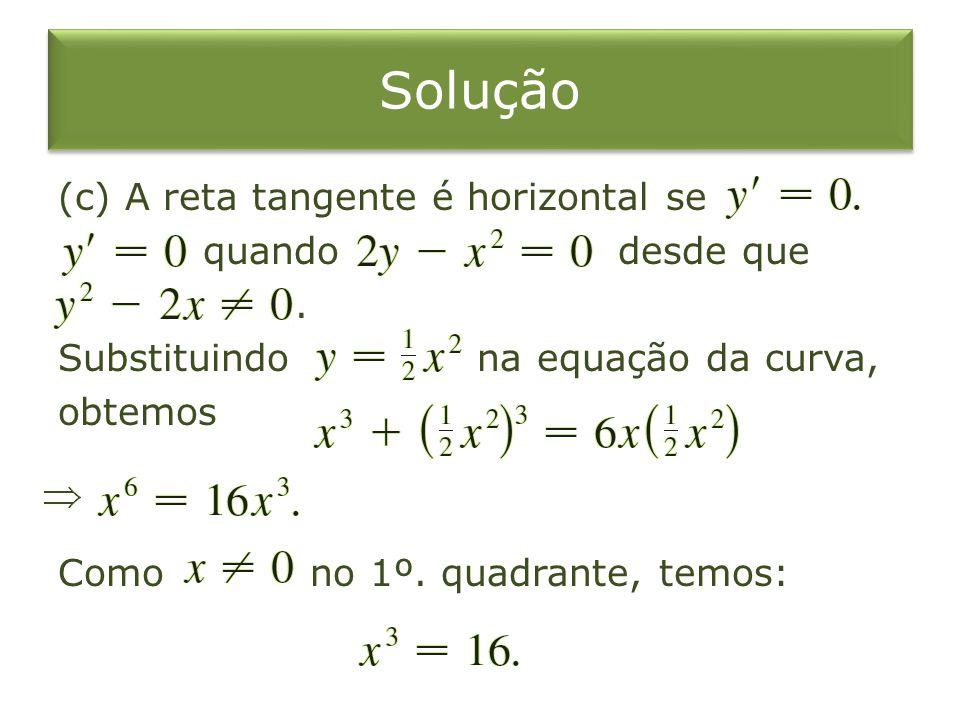 Solução (c) A reta tangente é horizontal se quando desde que .