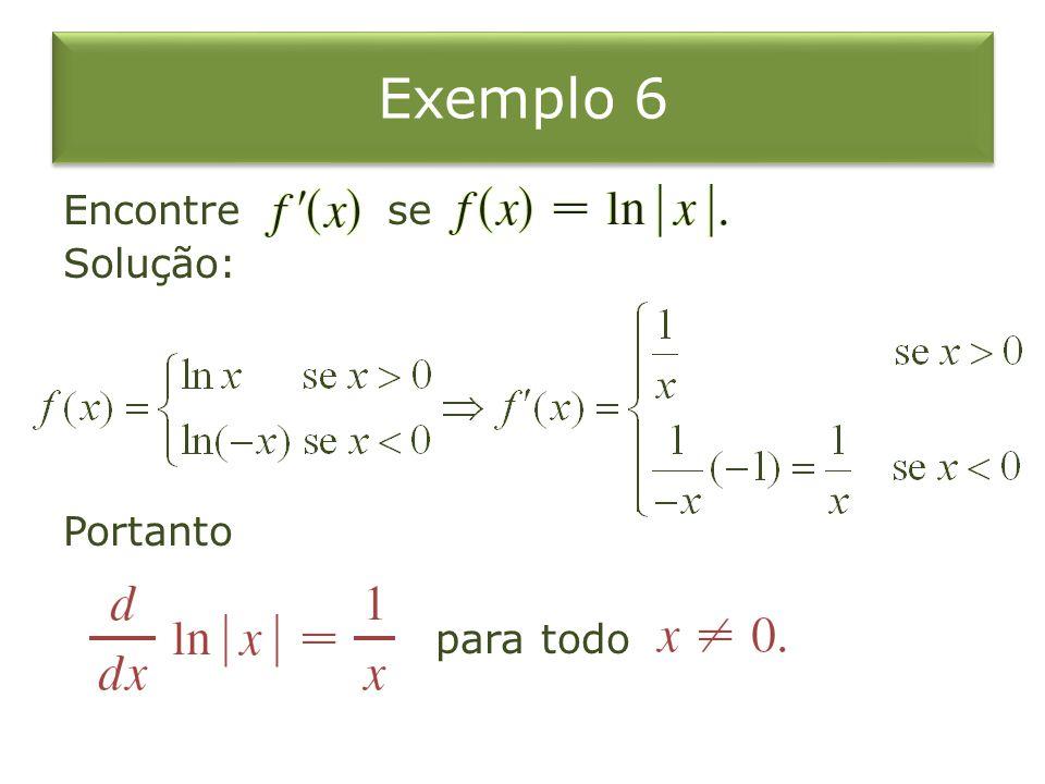 Exemplo 6 Encontre se Solução: Portanto para todo