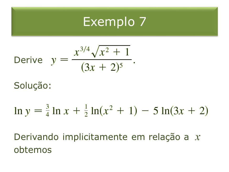 Exemplo 7 Derive Solução: Derivando implicitamente em relação a obtemos