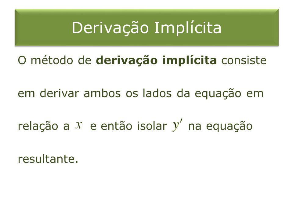 Derivação Implícita O método de derivação implícita consiste em derivar ambos os lados da equação em relação a e então isolar na equação resultante.