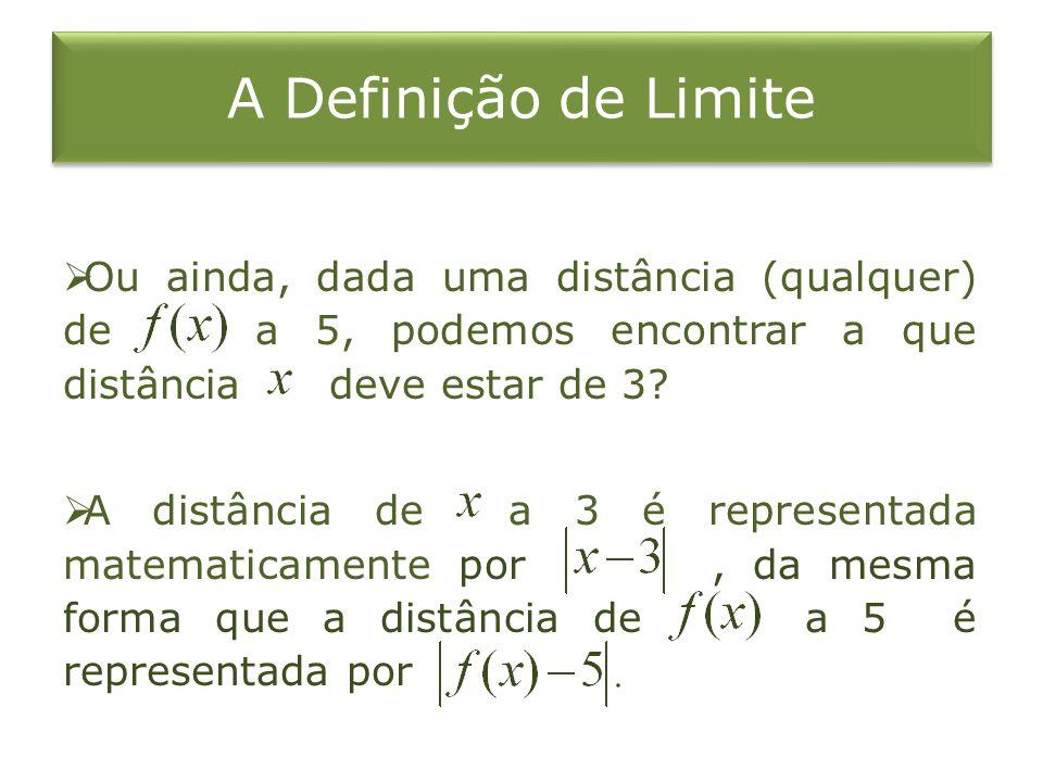 A Definição de Limite Ou ainda, dada uma distância (qualquer) de a 5, podemos encontrar a que distância deve estar de 3