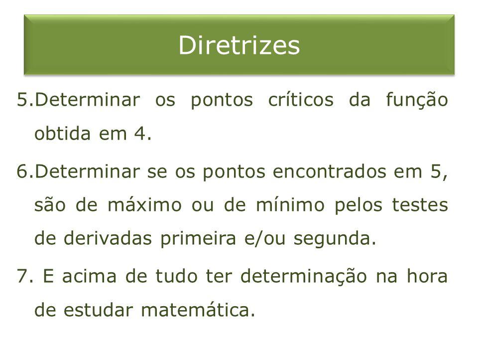 Diretrizes 5.Determinar os pontos críticos da função obtida em 4.