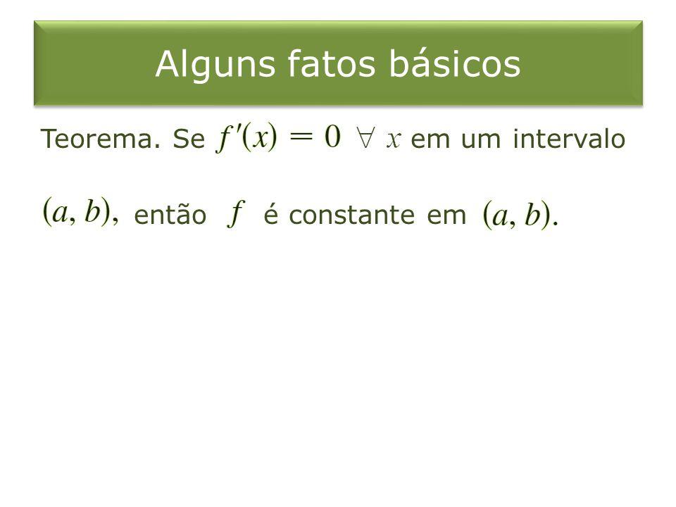 Alguns fatos básicos Teorema. Se em um intervalo então é constante em