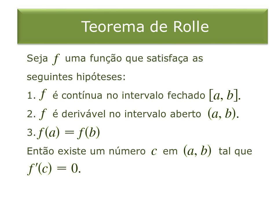 Teorema de Rolle Seja uma função que satisfaça as seguintes hipóteses: