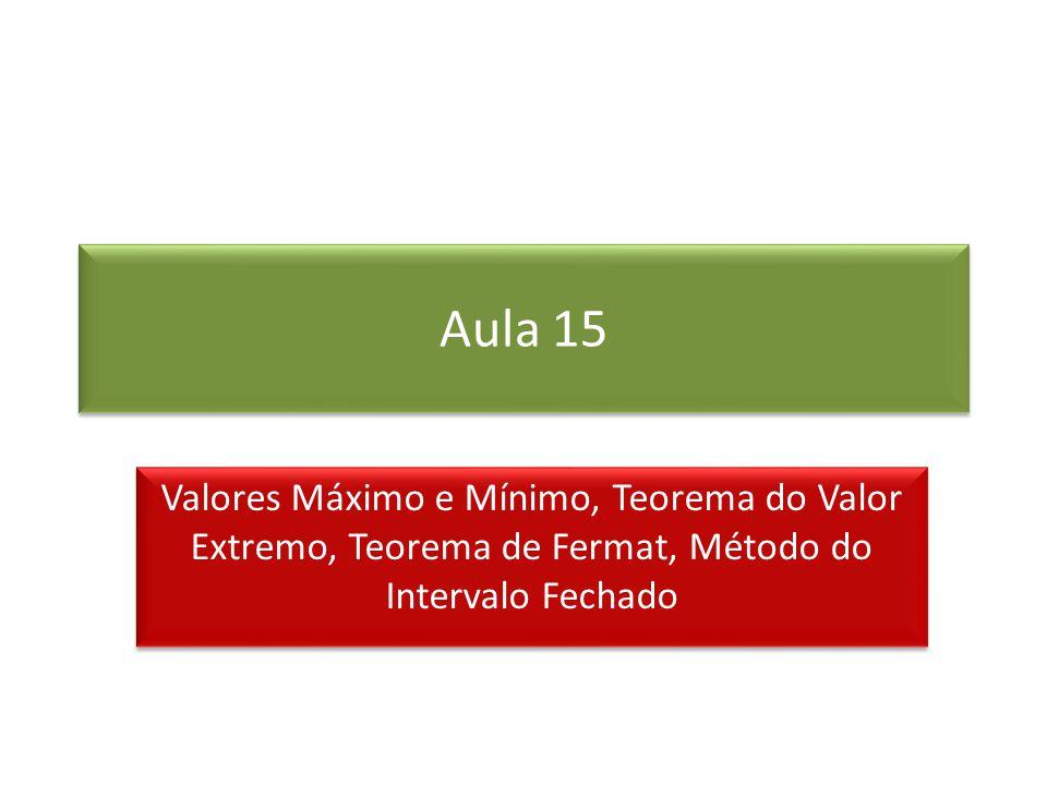 Aula 15 Valores Máximo e Mínimo, Teorema do Valor Extremo, Teorema de Fermat, Método do Intervalo Fechado.