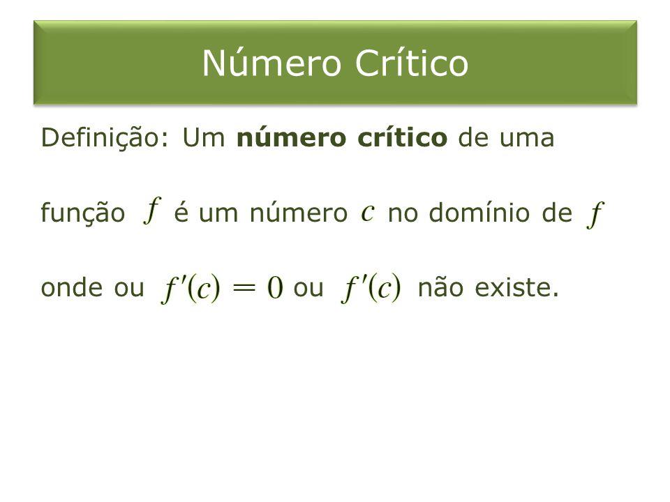 Número Crítico Definição: Um número crítico de uma função é um número no domínio de onde ou ou não existe.