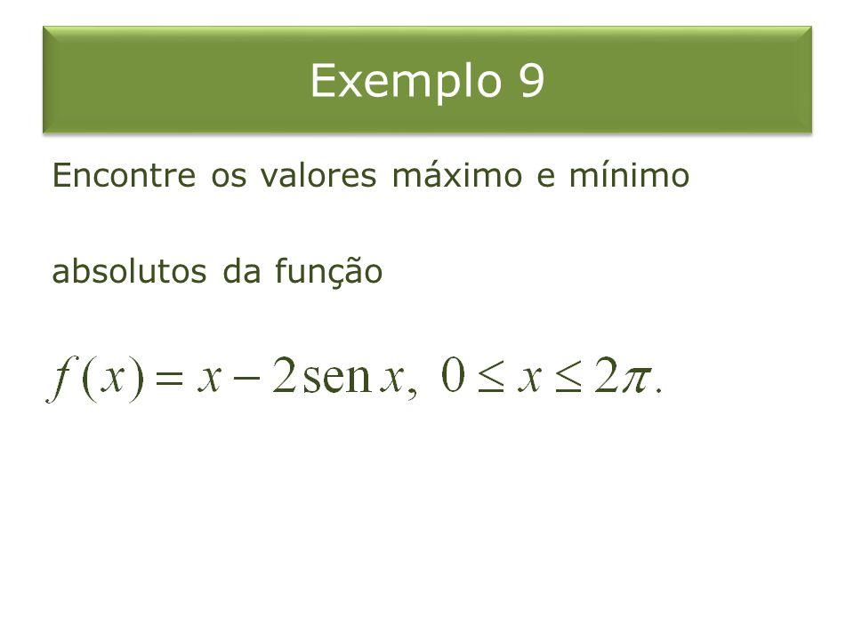 Exemplo 9 Encontre os valores máximo e mínimo absolutos da função