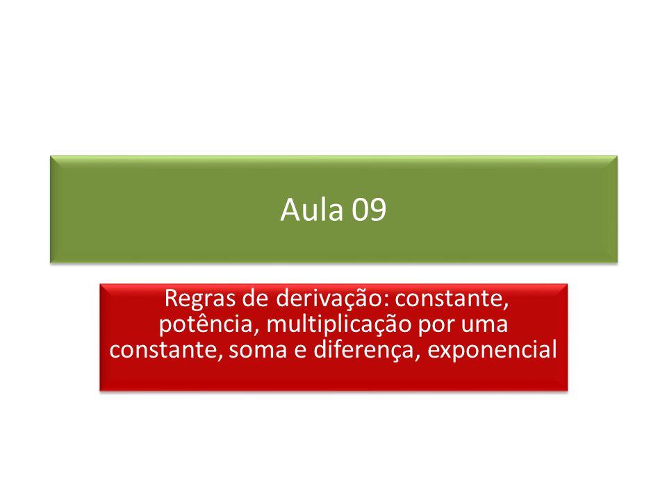 Aula 09 Regras de derivação: constante, potência, multiplicação por uma constante, soma e diferença, exponencial.
