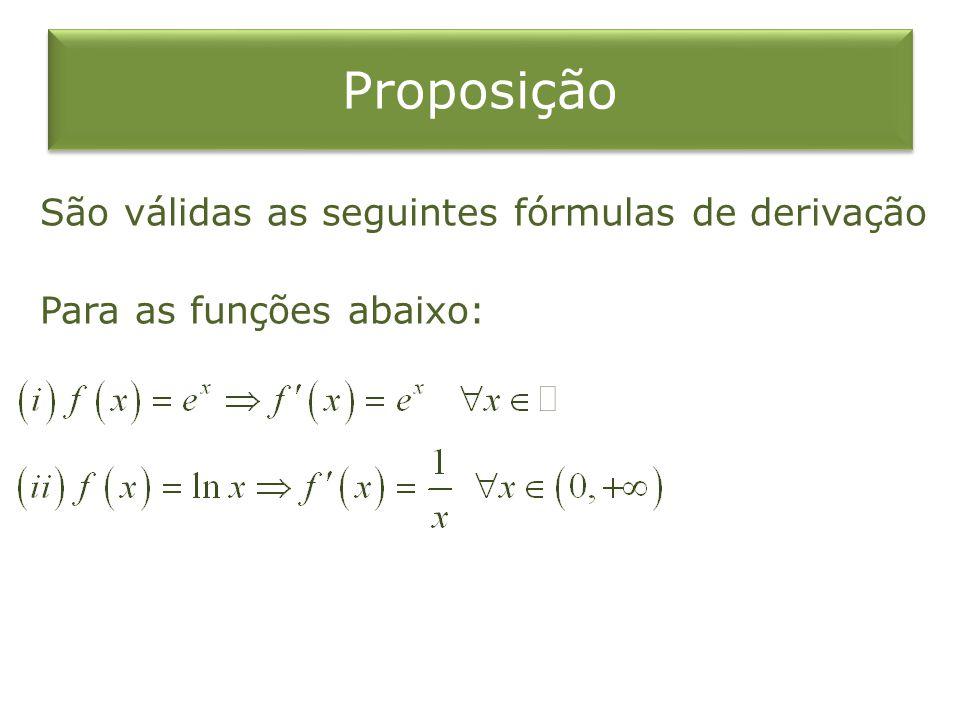 Proposição São válidas as seguintes fórmulas de derivação