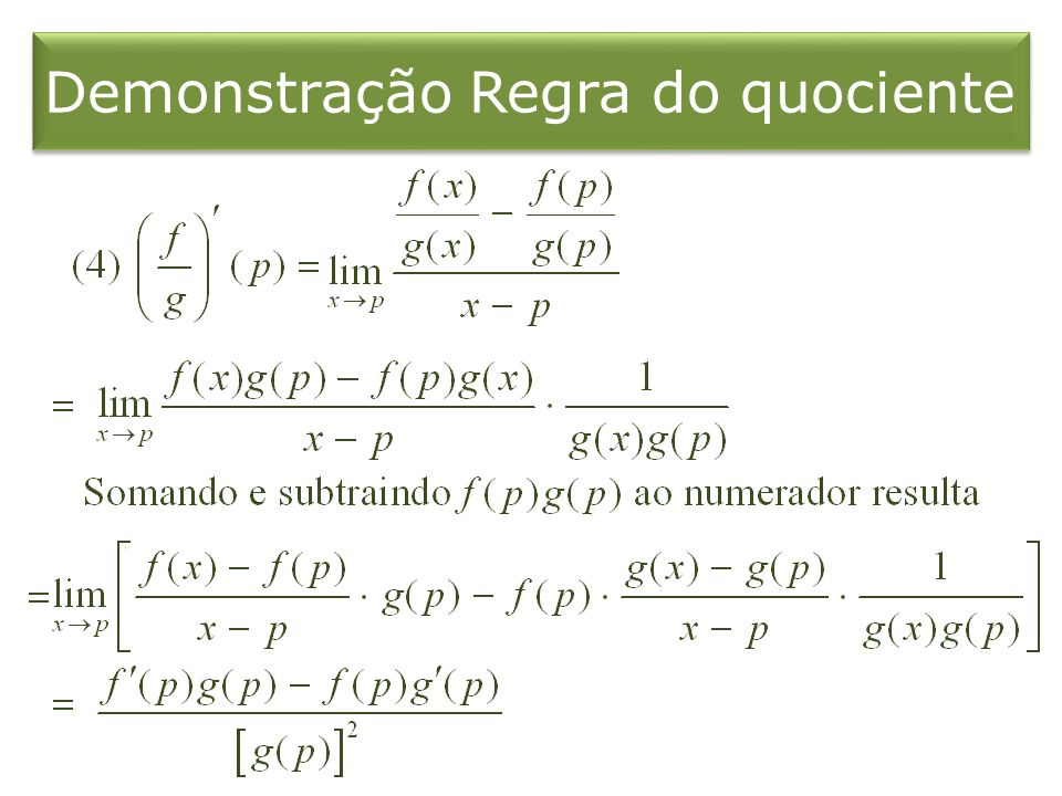 Demonstração Regra do quociente