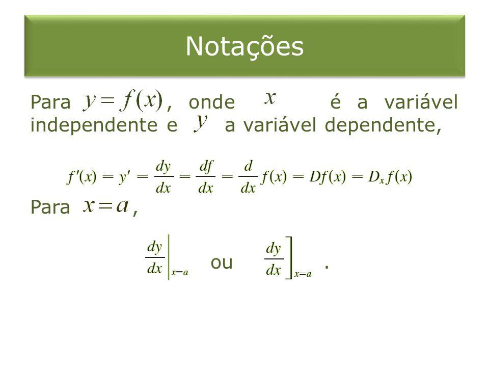 Notações Para , onde é a variável independente e a variável dependente, Para , ou .