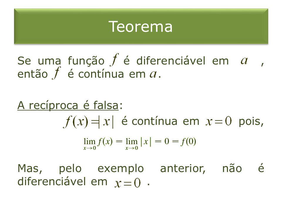Teorema Se uma função é diferenciável em , então é contínua em .