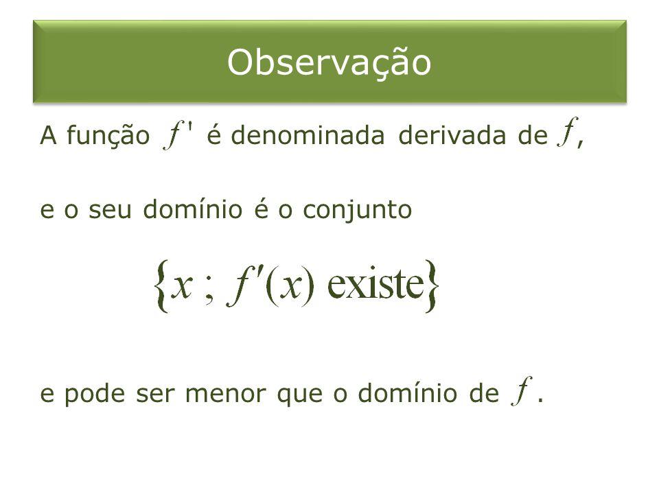Observação A função é denominada derivada de , e o seu domínio é o conjunto e pode ser menor que o domínio de .