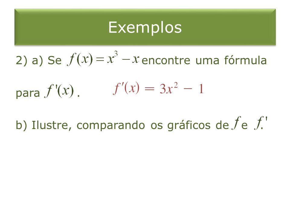 Exemplos 2) a) Se encontre uma fórmula para . b) Ilustre, comparando os gráficos de e .