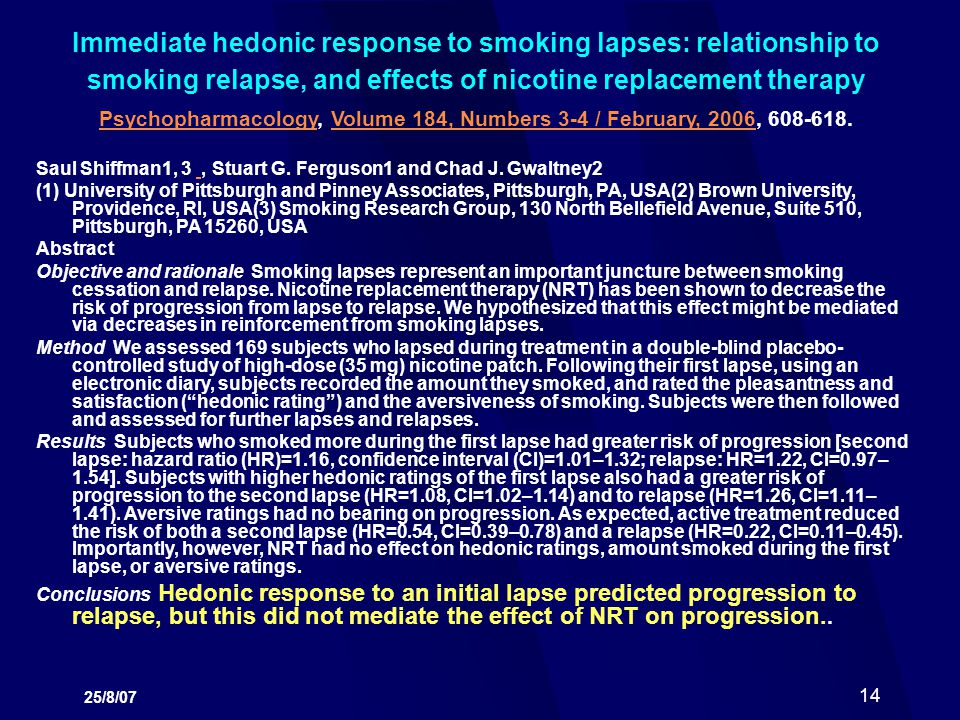 Immediate hedonic response to smoking lapses: relationship to smoking relapse, and effects of nicotine replacement therapy Psychopharmacology, Volume 184, Numbers 3-4 / February, 2006, 608-618.