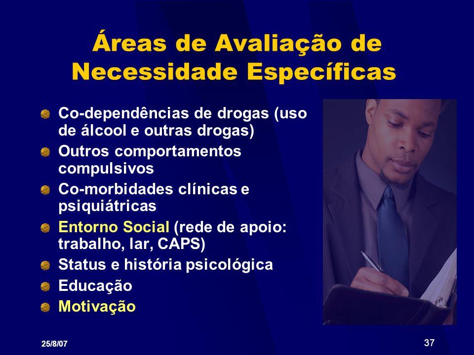 Áreas de Avaliação de Necessidade Específicas
