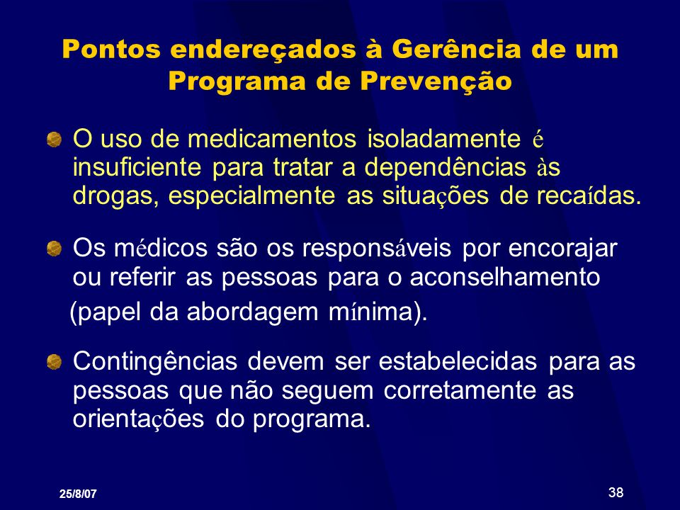 Pontos endereçados à Gerência de um Programa de Prevenção