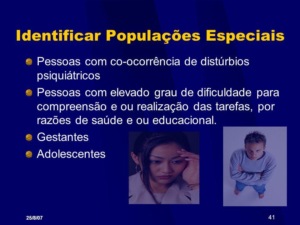 Identificar Populações Especiais