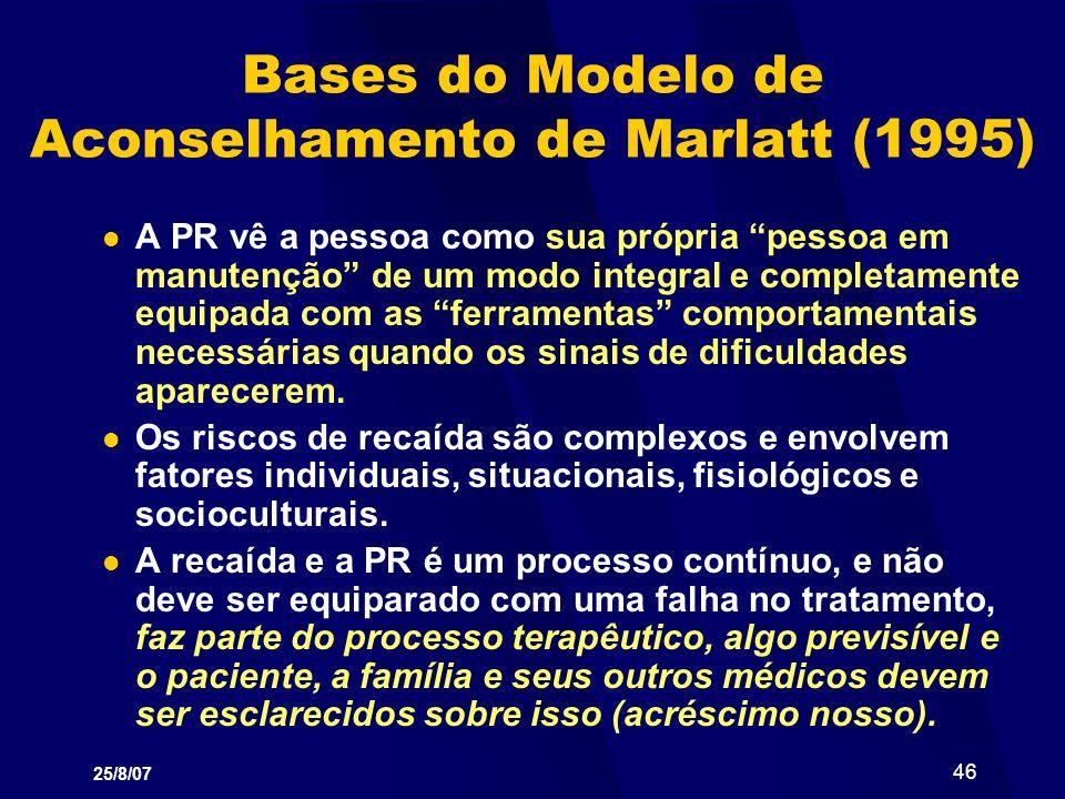 Bases do Modelo de Aconselhamento de Marlatt (1995)