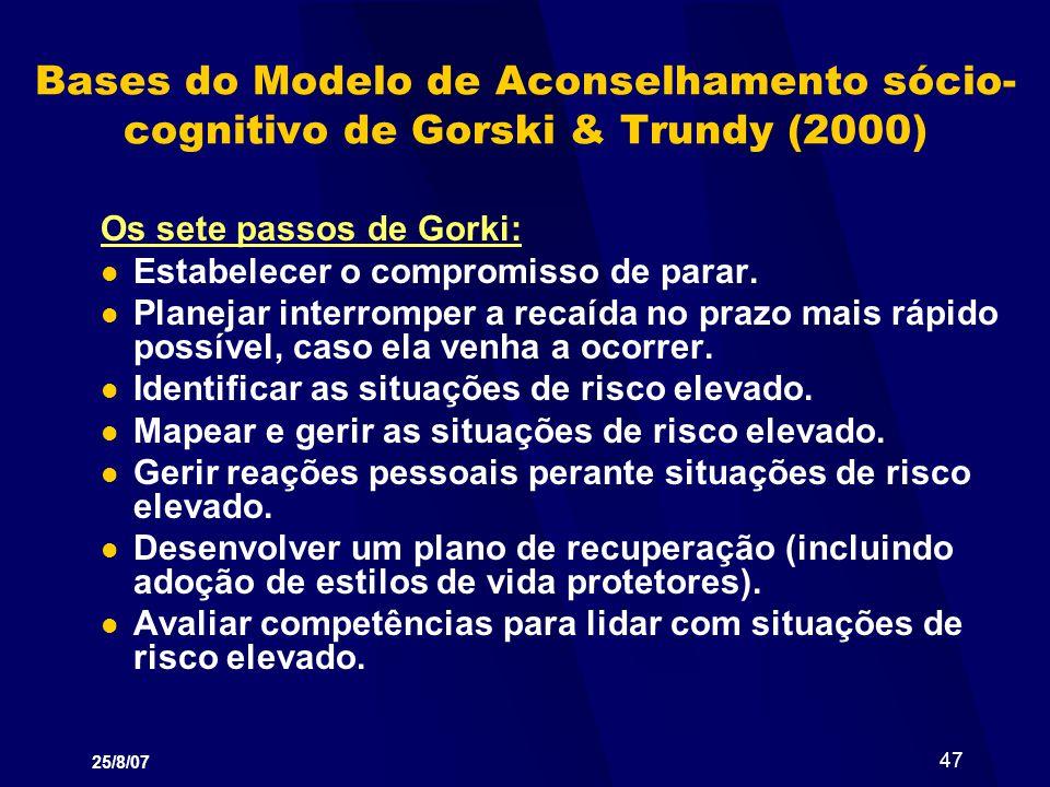 Bases do Modelo de Aconselhamento sócio-cognitivo de Gorski & Trundy (2000)