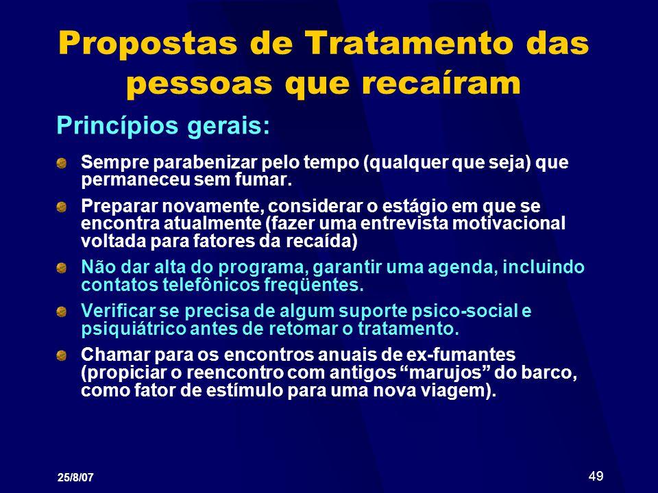 Propostas de Tratamento das pessoas que recaíram