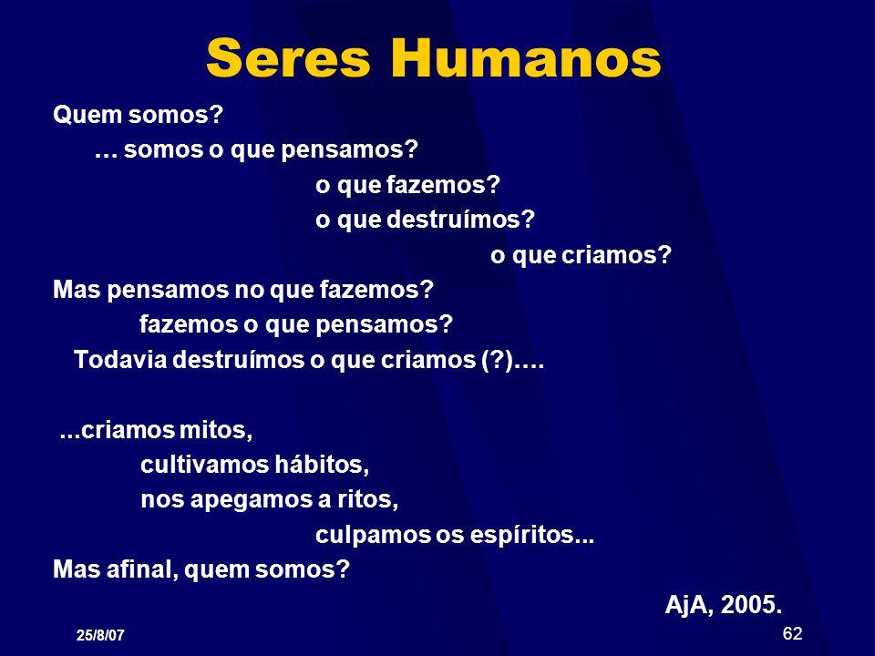 Seres Humanos Quem somos … somos o que pensamos o que fazemos