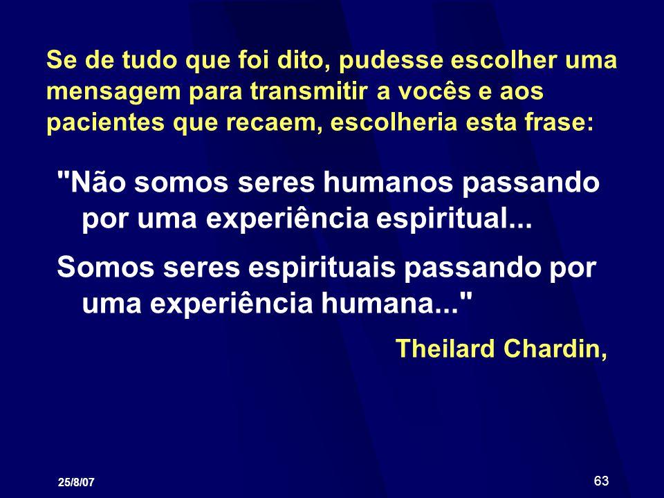 Não somos seres humanos passando por uma experiência espiritual...