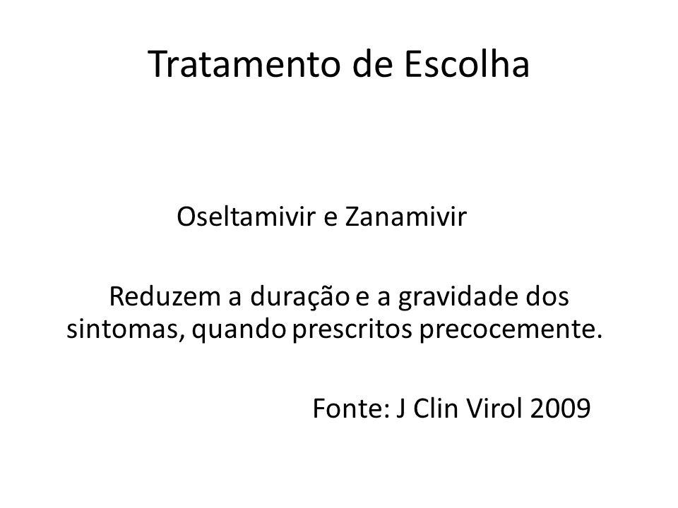 Tratamento de Escolha Oseltamivir e Zanamivir Reduzem a duração e a gravidade dos sintomas, quando prescritos precocemente.