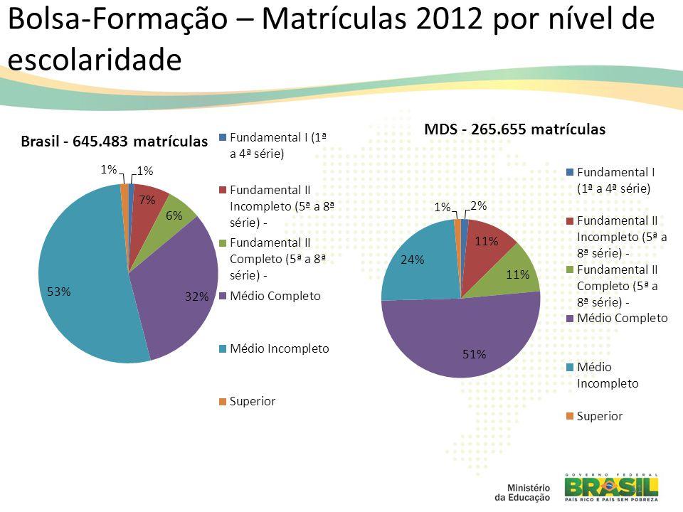 Bolsa-Formação – Matrículas 2012 por nível de escolaridade