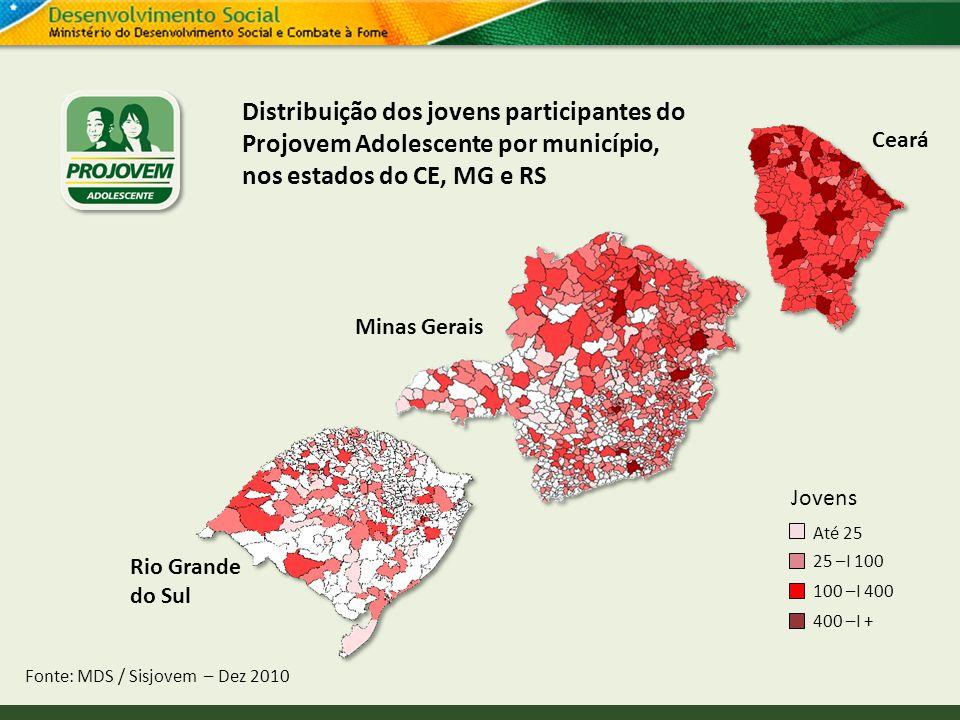 Distribuição dos jovens participantes do Projovem Adolescente por município, nos estados do CE, MG e RS