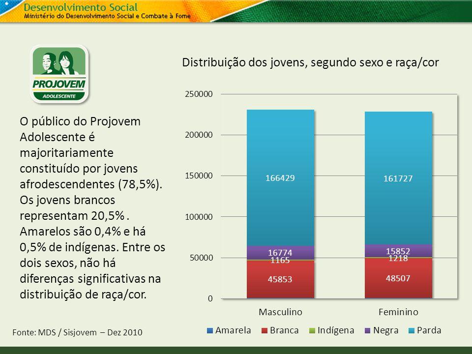 Distribuição dos jovens, segundo sexo e raça/cor