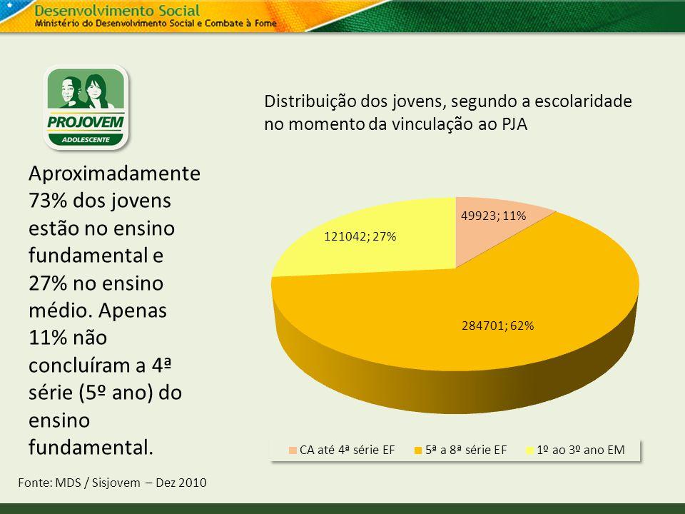Distribuição dos jovens, segundo a escolaridade no momento da vinculação ao PJA