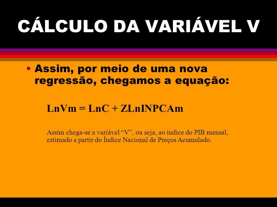 CÁLCULO DA VARIÁVEL V Assim, por meio de uma nova regressão, chegamos a equação: LnVm = LnC + ZLnINPCAm.