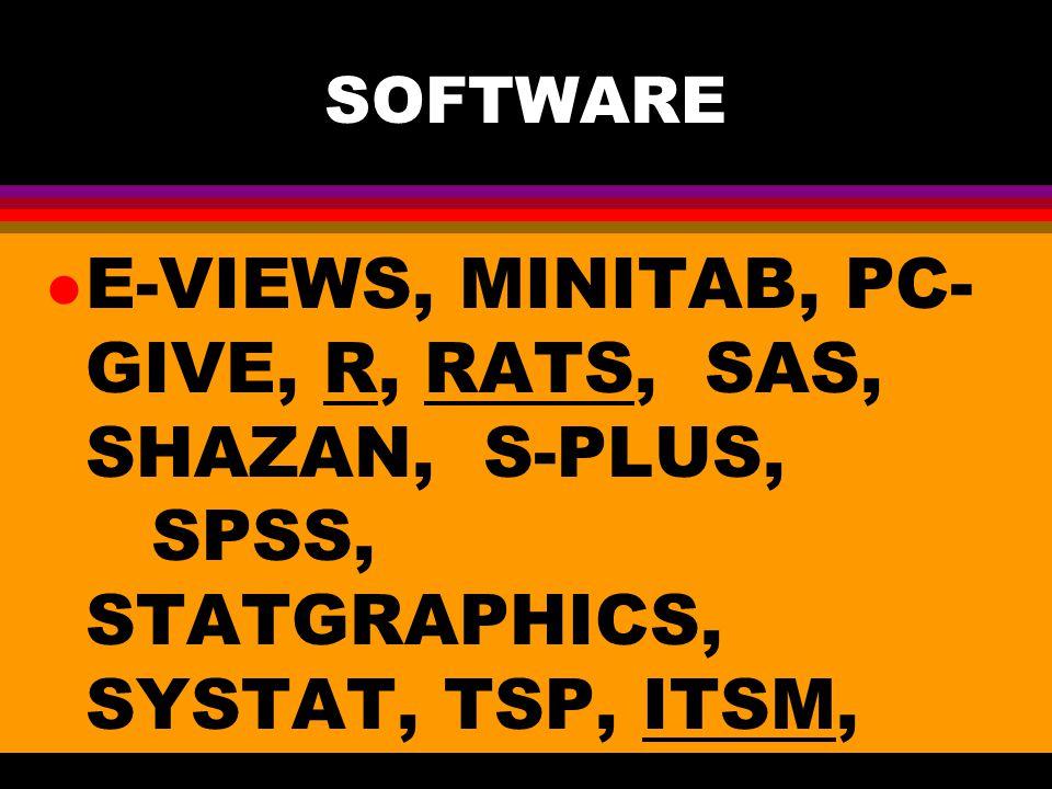 SOFTWARE E-VIEWS, MINITAB, PC-GIVE, R, RATS, SAS, SHAZAN, S-PLUS, SPSS, STATGRAPHICS, SYSTAT, TSP, ITSM, EASYREG.
