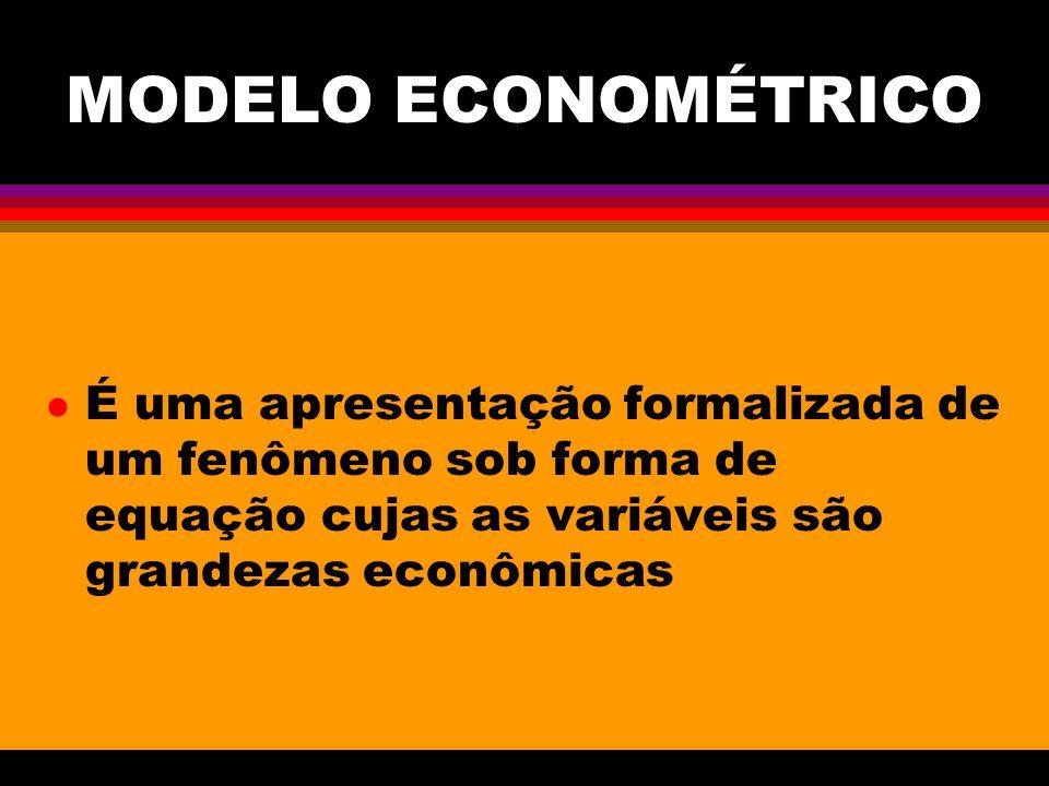 MODELO ECONOMÉTRICO É uma apresentação formalizada de um fenômeno sob forma de equação cujas as variáveis são grandezas econômicas.