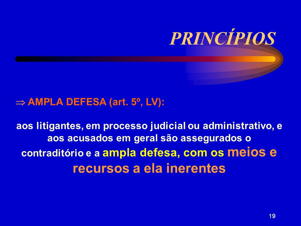 PRINCÍPIOS  AMPLA DEFESA (art. 5º, LV):