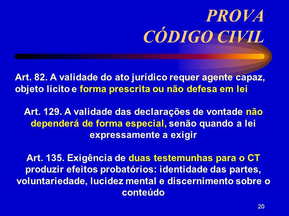 PROVA CÓDIGO CIVIL Art. 82. A validade do ato jurídico requer agente capaz, objeto lícito e forma prescrita ou não defesa em lei.