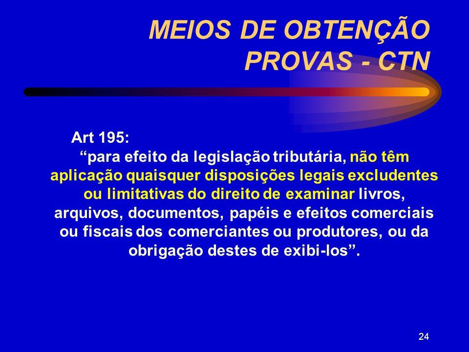 MEIOS DE OBTENÇÃO PROVAS - CTN