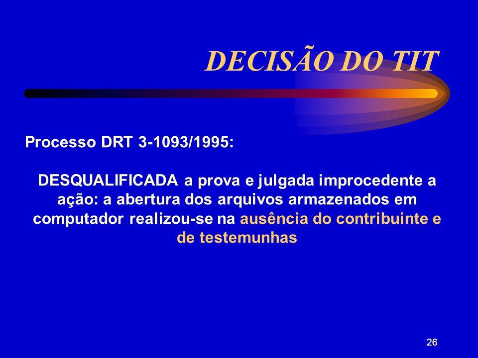 DECISÃO DO TIT Processo DRT 3-1093/1995: