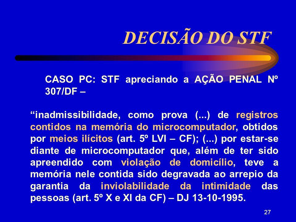 DECISÃO DO STF CASO PC: STF apreciando a AÇÃO PENAL Nº 307/DF –